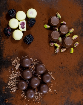 Blackberry fools, pistachio pralines and chocolate mousse